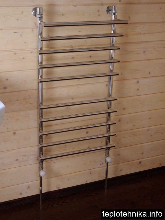 подключение сушилки хромированными трубками из пола