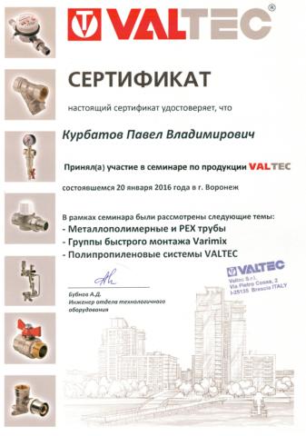 Сертификат Курбатов